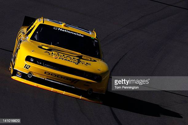 Sam Hornish Jr drives the Alliance Truck Parts Dodge during practice for the NASCAR Nationwide Series Sam's Town 300 at Las Vegas Motor Speedway on...