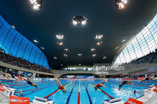 Sam Horrocks of Manchester Swimming and Adam Barrett of Loughboro University start the Men's 100m Butterfly heats on day five of the British Swimming...