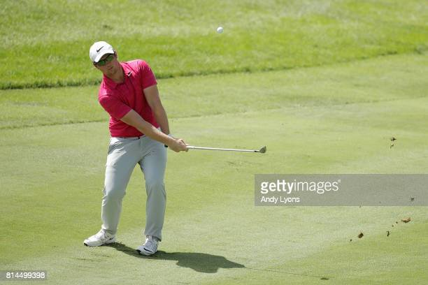Sam Horsfield chips to the 17th green during the second round of the John Deere Classic at TPC Deere Run on July 14 2017 in Silvis Illinois