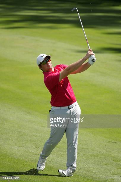 Sam Horsfield hits his approach shot on the 15th hole during the second round of the John Deere Classic at TPC Deere Run on July 14 2017 in Silvis...