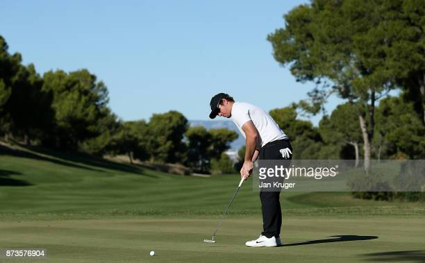 Sam Horsfield of England in action during round three of the European Tour Qualifying School Final Stage at Lumine Golf Club on November 13 2017 in...