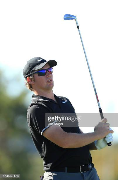 Sam Horsfield of England in action during the fifth round of the European Tour Qualifying School Final Stage at Lumine Golf Club on November 15 2017...