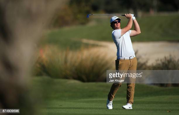 Sam Horsfield of England in action during the final round of the European Tour Qualifying School Final Stage at Lumine Golf Club on November 16 2017...
