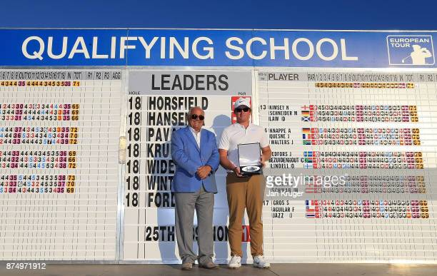 Sam Horsfield of England is presented with his award by European Tour Vice Chairman Angel Gallardo after the final round of the European Tour...