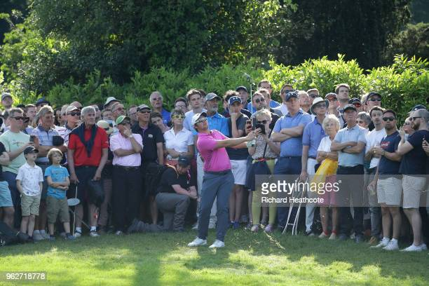 Sam Horsfield of England pitches to the 17th green during the third round of the BMW PGA Championship at Wentworth on May 26 2018 in Virginia Water...