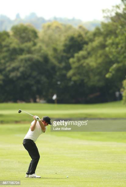 Sam Horsfield of England plays a shot on the 17th hole during the first day of the Joburg Open at Randpark Golf Club on December 7 2017 in...