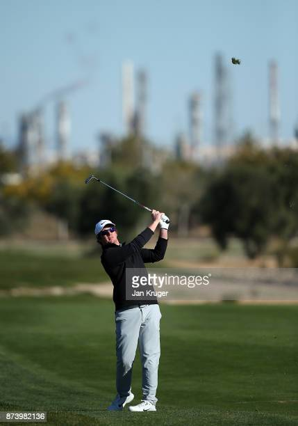 Sam Horsfield of England plays an approach shot to the 6th green during round four of the European Tour Qualifying School Final Stage at Lumine Golf...
