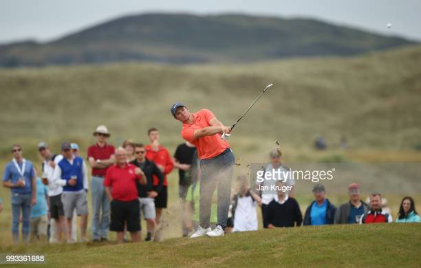 Sam Horsfield of England plays his second shot on the 16th hole during the third round of the Dubai Duty Free Irish Open at Ballyliffin Golf Club on...
