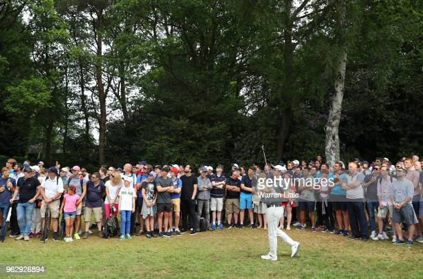 Sam Horsfield of England plays his second shot on the 6th hole during day four and the final round of the BMW PGA Championship at Wentworth on May 27...