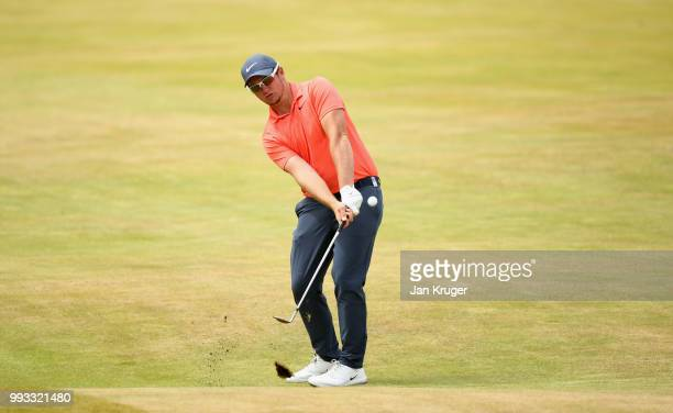 Sam Horsfield of England plays his third shot on the first hole during the third round of the Dubai Duty Free Irish Open at Ballyliffin Golf Club on...