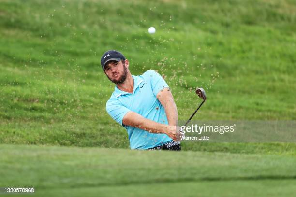 Sam Horsfield of England plays out of a bunker on the seventh hole during Day Four of the Cazoo Open supported by Gareth Bale at Celtic Manor Resort...