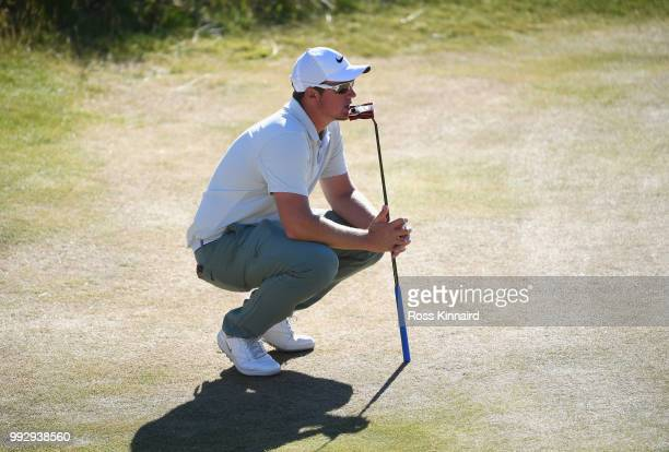 Sam Horsfield of England prepares to putt on the seventh green during the second round of the Dubai Duty Free Irish Open at Ballyliffin Golf Club on...