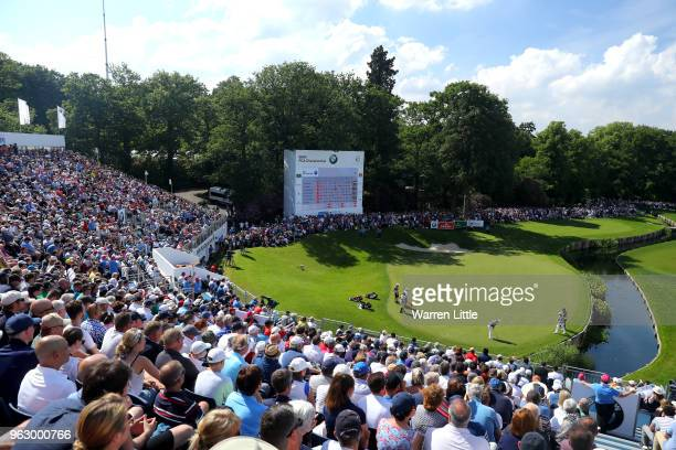 Sam Horsfield of England putts on the 18th green during day four and the final round of the BMW PGA Championship at Wentworth on May 27 2018 in...