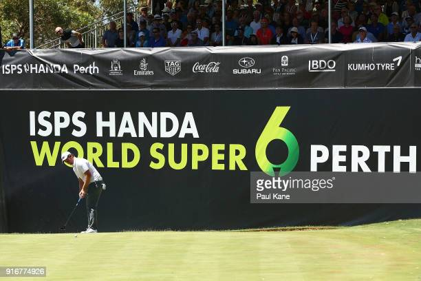 Sam Horsfield of England putts on the 6th green after in the round two match against Matthew Millar of Australia during day four of the World Super 6...