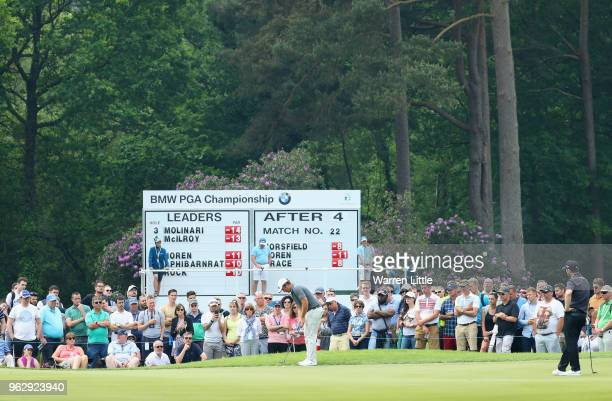 Sam Horsfield of England putts on the 6th green during day four and the final round of the BMW PGA Championship at Wentworth on May 27 2018 in...