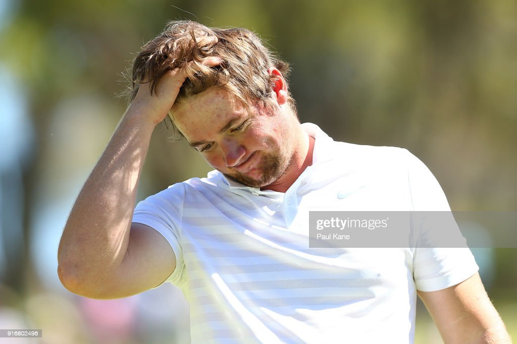 Sam Horsfield of England reacts after being defeated by James Nitties of Australia in the semi final during day four of the World Super 6 at Lake Karrinyup Country Club on February 11, 2018 in Perth, Australia.
