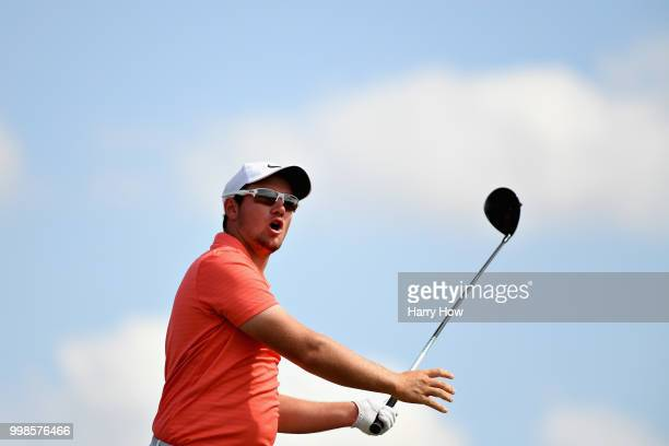 Sam Horsfield of England reacts to his tee shot on hole two during day three of the Aberdeen Standard Investments Scottish Open at Gullane Golf...