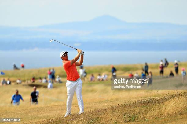 Sam Horsfield of England takes his second shot on hole four during day three of the Aberdeen Standard Investments Scottish Open at Gullane Golf...