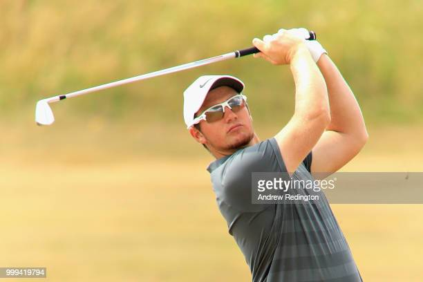 Sam Horsfield of England takes his second shot on hole four during day four of the Aberdeen Standard Investments Scottish Open at Gullane Golf Course...