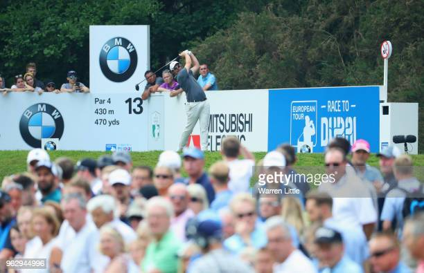 Sam Horsfield of England tees off on the 13th hole during day four and the final round of the BMW PGA Championship at Wentworth on May 27 2018 in...