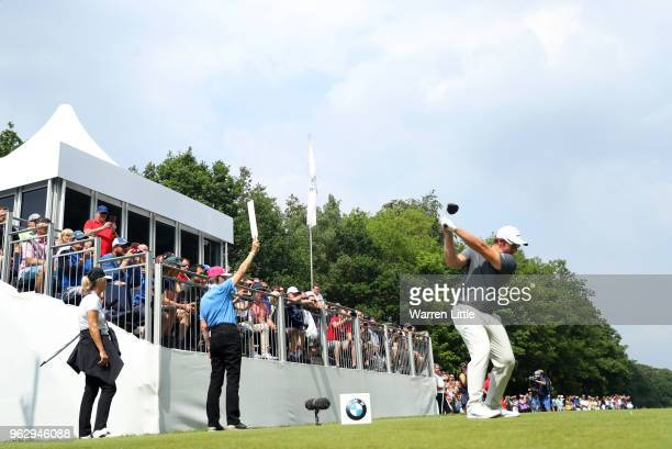 Sam Horsfield of England tees off on the 15th hole during day four and the final round of the BMW PGA Championship at Wentworth on May 27 2018 in...