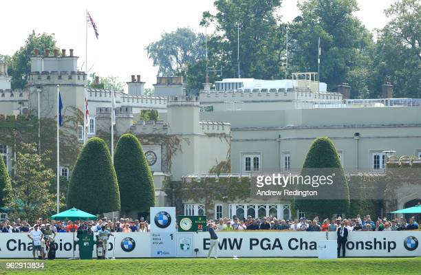 Sam Horsfield of England tees off on the 1st hole during day four and the final round of the BMW PGA Championship at Wentworth on May 27 2018 in...
