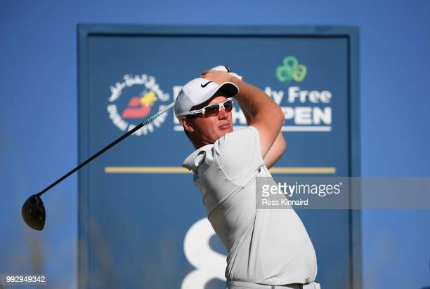 Sam Horsfield of England tees off on the eighth hole during the second round of the Dubai Duty Free Irish Open at Ballyliffin Golf Club on July 6...