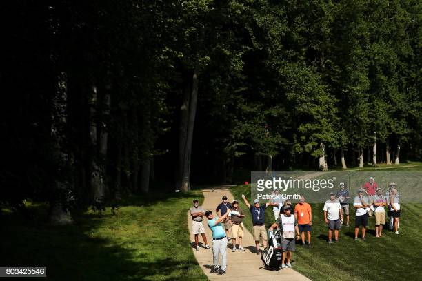 Sam Horsfield of the United States plays a shot on the 11th hole during the first round of the Quicken Loans National on June 29 2017 TPC Potomac in...