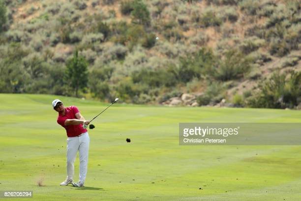 Sam Horsfield plays his second shot on the 17th hole during the first round of the Barracuda Championship at Montreux Country Club on August 3 2017...
