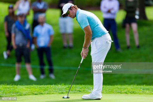 Sam Horsfield putts on the green of the 9th hole during second round action of the RBC Canadian Open on July 28 at Glen Abbey Golf Club in Oakville...