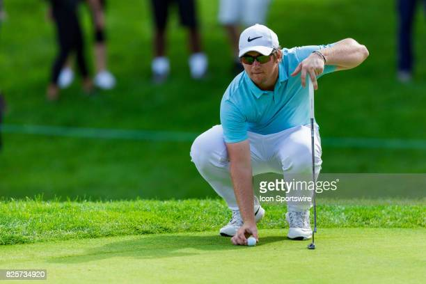 Sam Horsfield replaces his ball on the green of the 9th hole during second round action of the RBC Canadian Open on July 28 at Glen Abbey Golf Club...