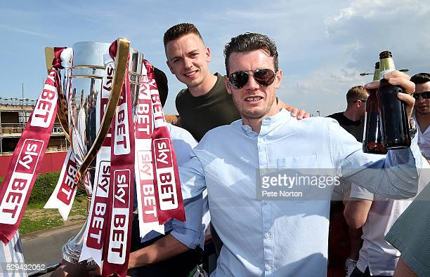 Sam Hoskins and Zander Diamond of Northampton Town pose with the Sky Bet League Two Champions Trophy during the Northampton Town Sky Bet League Two...
