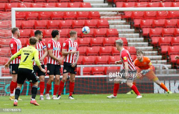 Sam Hoskins of Northampton scores the opening goal with a deflected free kick during the Sky Bet League One match between Sunderland and Northampton...
