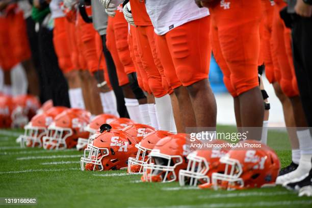Sam Houston State Bearkats helmets during the national anthem before the game between the South Dakota State Jackrabbits and the Sam Houston State...