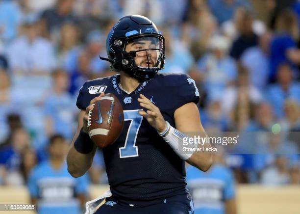 Sam Howell of the North Carolina Tar Heels drops back to pass against the Duke Blue Devils during their game at Kenan Stadium on October 26, 2019 in...