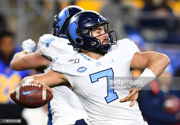 Sam Howell of the North Carolina Tar Heels throws a pass during the second quarter against the Pittsburgh Panthers at Heinz Field on November 14 2019...
