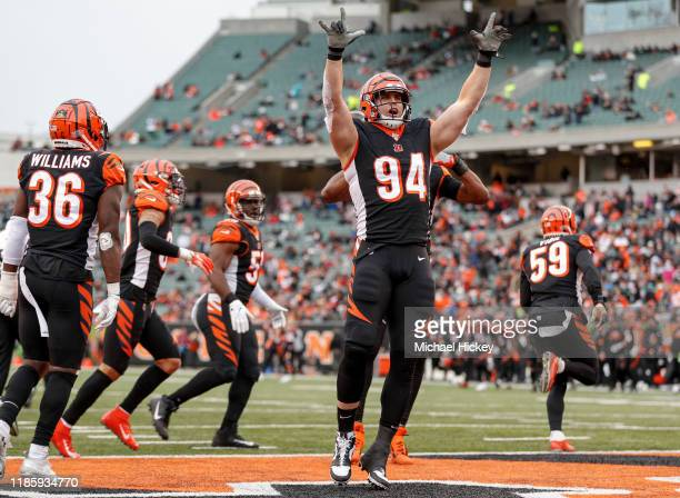 Sam Hubbard of the Cincinnati Bengals celebrates a sack during the second half against the New York Jets at Paul Brown Stadium on December 1 2019 in...