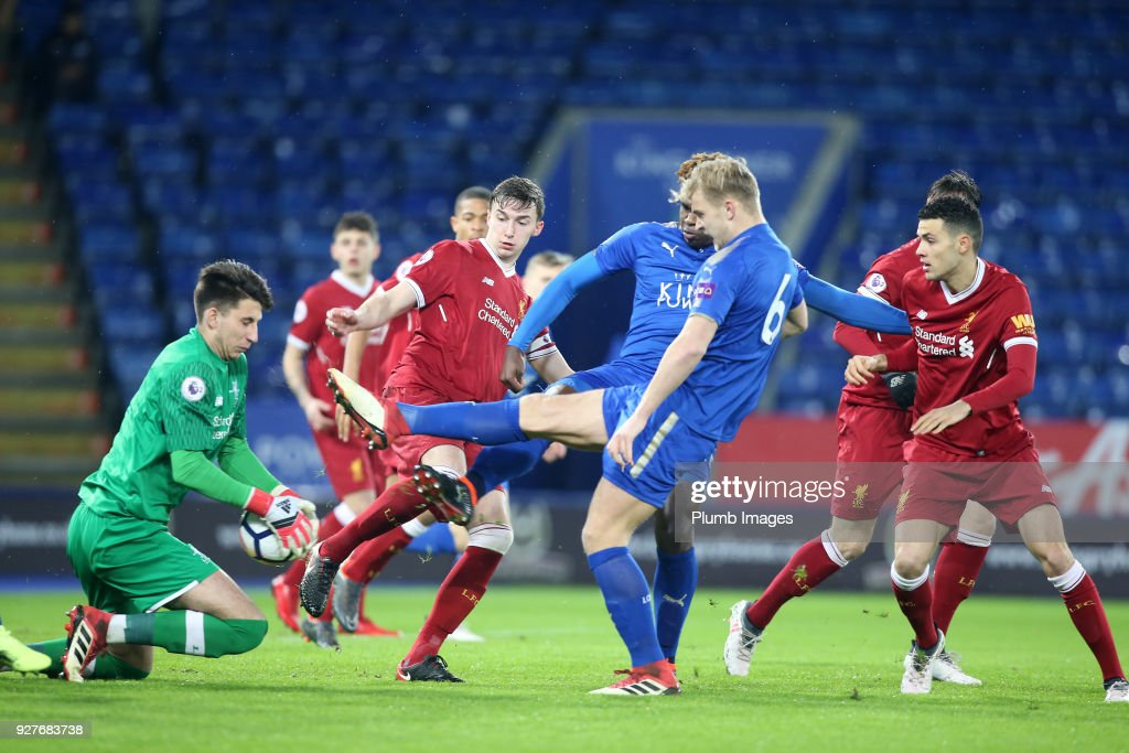 Sam Hughes and Darnell Johnson of Leicester City put Kamil Grabara of Liverpool under pressure during the Premier League 2 match between Leicester City and Liverpool at King Power Stadium, on March 5th, 2018 in Leicester, United Kingdom