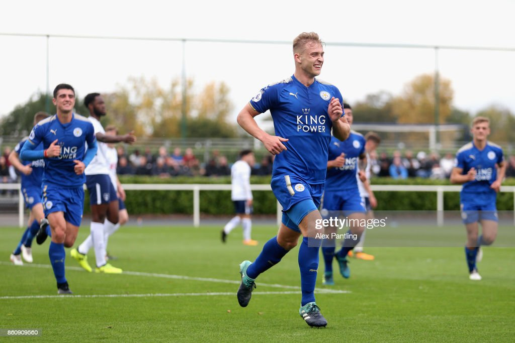 Sam Hughes of Leicester City celebrates after scoring his sides first goal during the Premier League 2 match between Tottenham Hotspur and Leicester City at Enfield Training Centre on October 13, 2017 in Enfield, England.