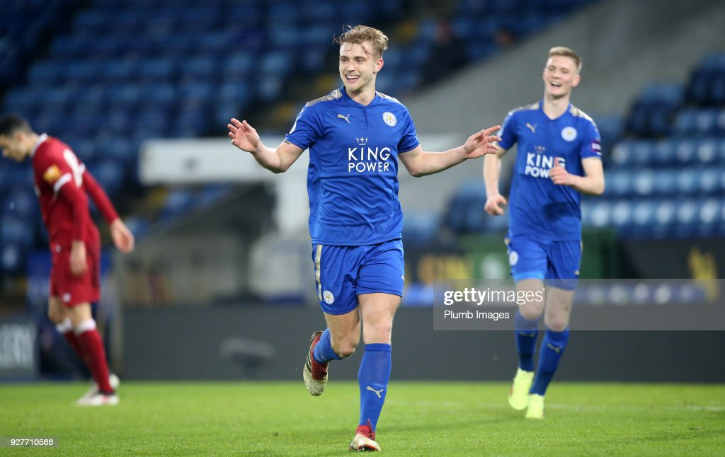 Sam Hughes of Leicester City celebrates after scoring to make it 4-0 during the Premier League 2 match between Leicester City and Liverpool at King Power Stadium, on March 5th, 2018 in Leicester, United Kingdom