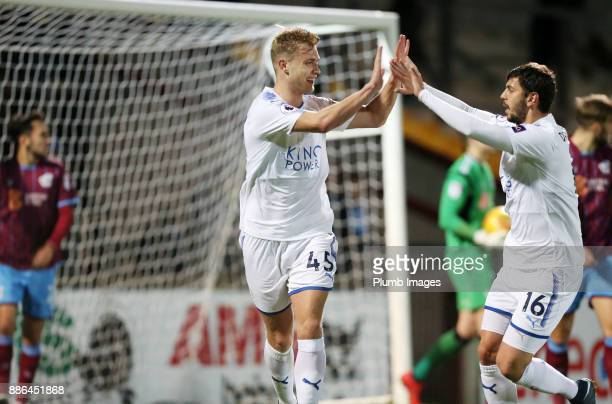 Sam Hughes of Leicester City celebrates with Aleksandar Dragovic of Leicester City after scoring to make it 02 during the Checkatrade Trophy tie...