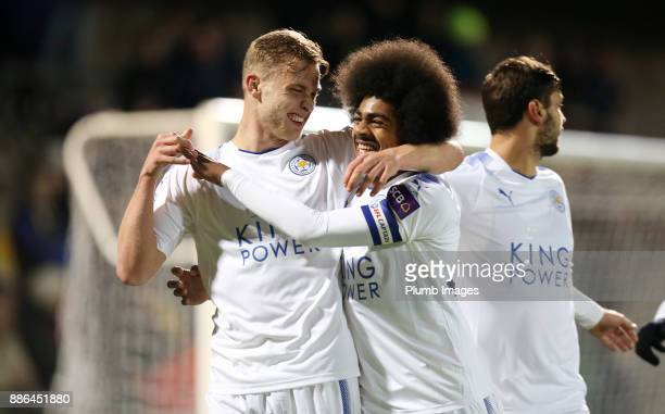 Sam Hughes of Leicester City celebrates with Hamza Choudhury of Leicester City after scoring to make it 02 during the Checkatrade Trophy tie between...