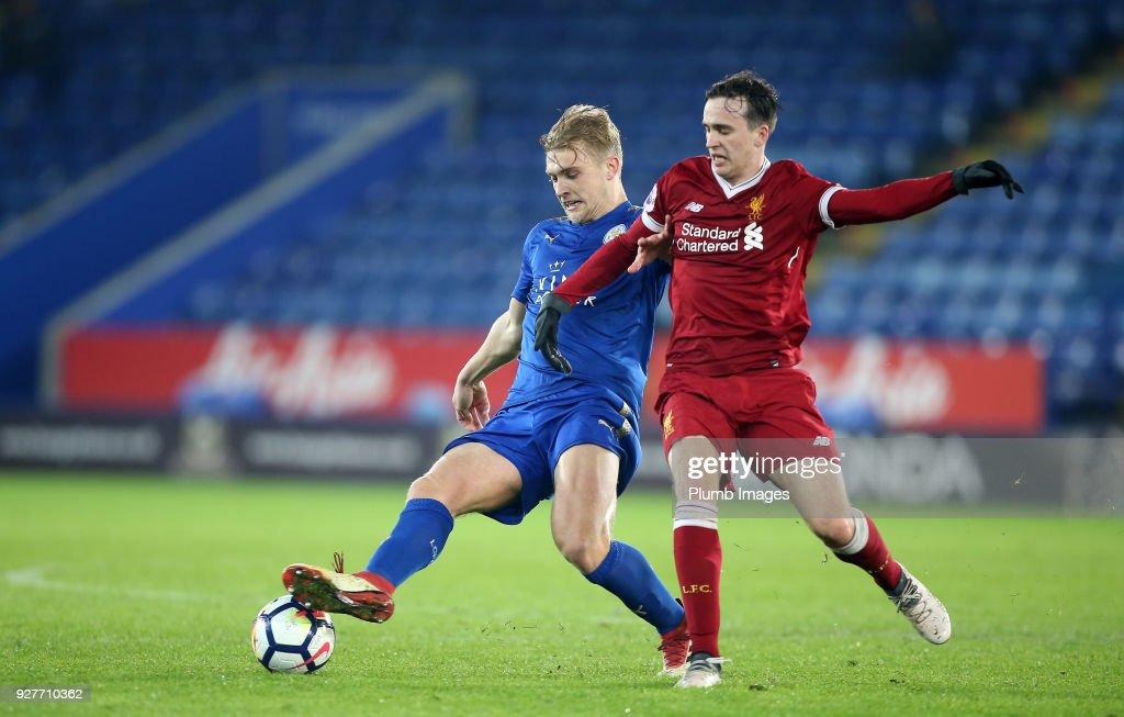 Sam Hughes of Leicester City in action during the Premier League 2 match between Leicester City and Liverpool at King Power Stadium, on March 5th, 2018 in Leicester, United Kingdom