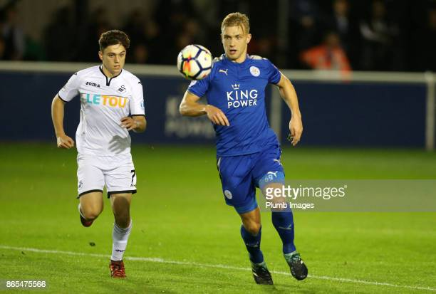 Sam Hughes of Leicester City in action with Daniel James of Swansea City during the Premier League 2 match between Leicester City and Swansea City at...