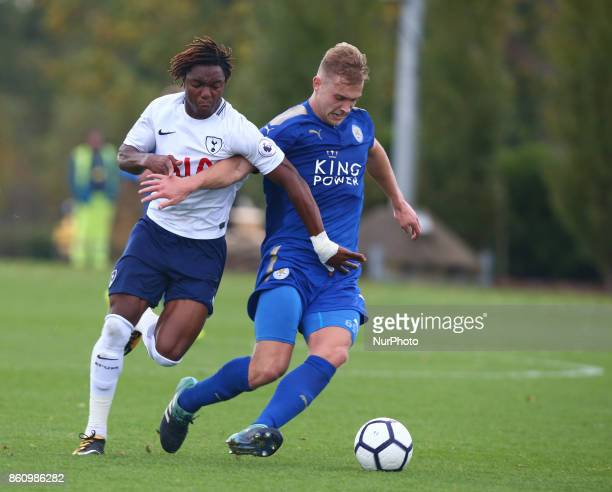 Sam Hughes of Leicester City Under 23s holds of Kazaiah Sterling of Tottenham Hotspur Under 23s during Premier League 2 Div 1 match between Tottenham...