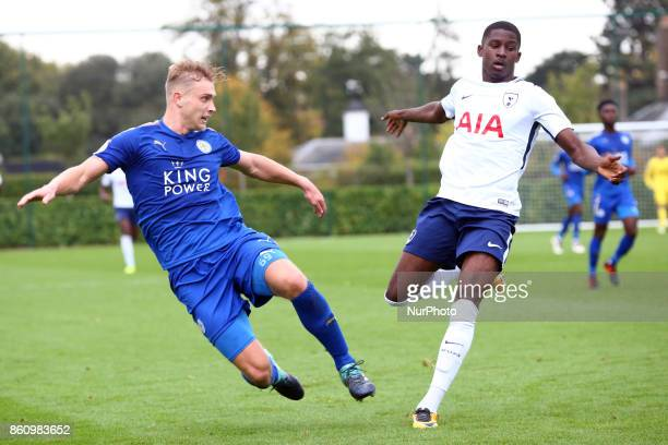 LR Sam Hughes of Leicester City Under 23s Shilow Tracey of Tottenham Hotsput Under 23s during Premier League 2 Div 1 match between Tottenham Hotspur...