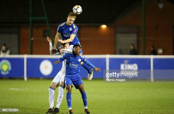 Sam Hughes of Leicester City wins the header during the Premier League International Cup tie between Leicester City and Legia Warsaw at Holmes Park...
