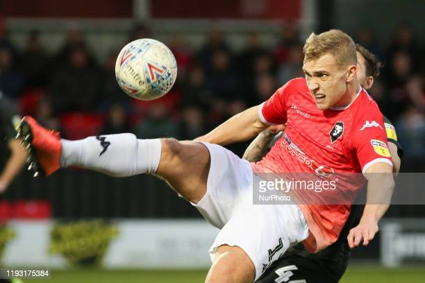Sam Hughes of Salford City FC controls the ball during the Sky Bet League 2 match between Salford City and Northampton Town at Moor Lane Salford on...