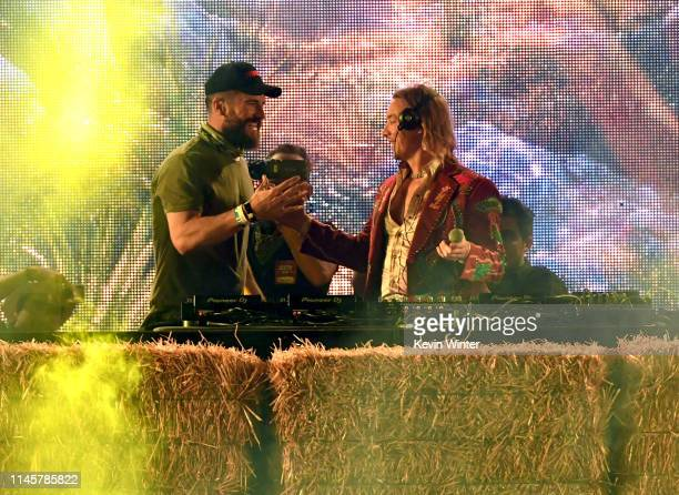 Sam Hunt and Diplo perform onstage during the 2019 Stagecoach Festival at Empire Polo Field on April 28 2019 in Indio California