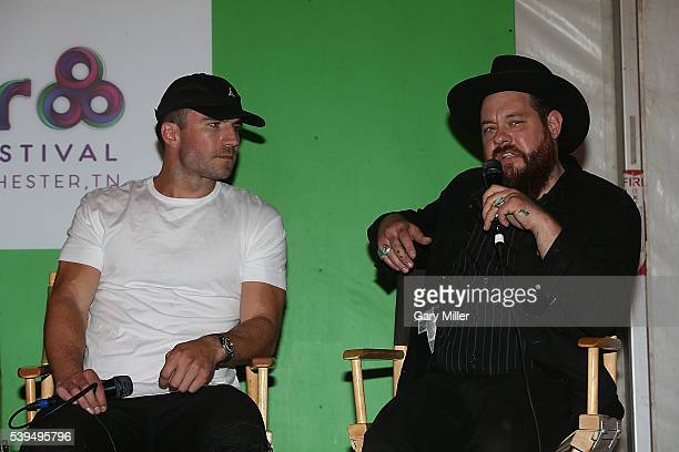 Sam Hunt and Nathaniel Ratliff speak during the Saturday press conference on the third day of the Bonnaroo Music and Arts Festival on June 11 2016 in...